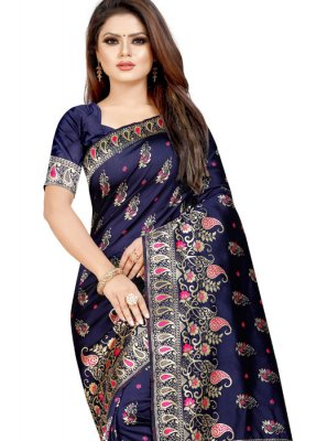 Navy Blue Cotton Silk Traditional Saree