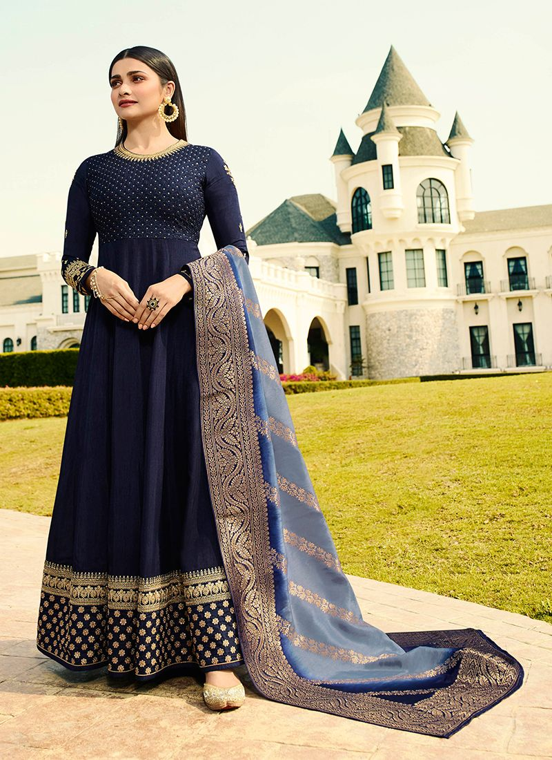 Navy Blue Embroidered Anarkali Salwar Kameez