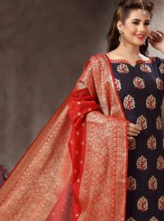 Navy Blue Embroidered Churidar Salwar Suit