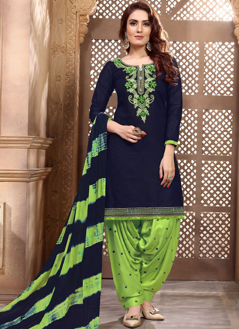 Navy Blue Embroidered Cotton Designer Patiala Suit