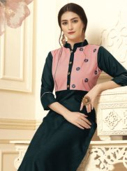 Navy Blue Embroidered Cotton Party Wear Kurti