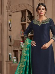 Navy Blue Embroidered Designer Straight Salwar Suit