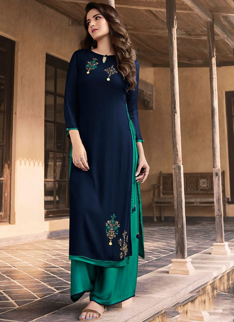 Navy Blue Embroidered Faux Georgette Party Wear Kurti
