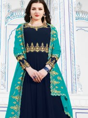 Navy Blue Embroidered Georgette Anarkali Salwar Suit