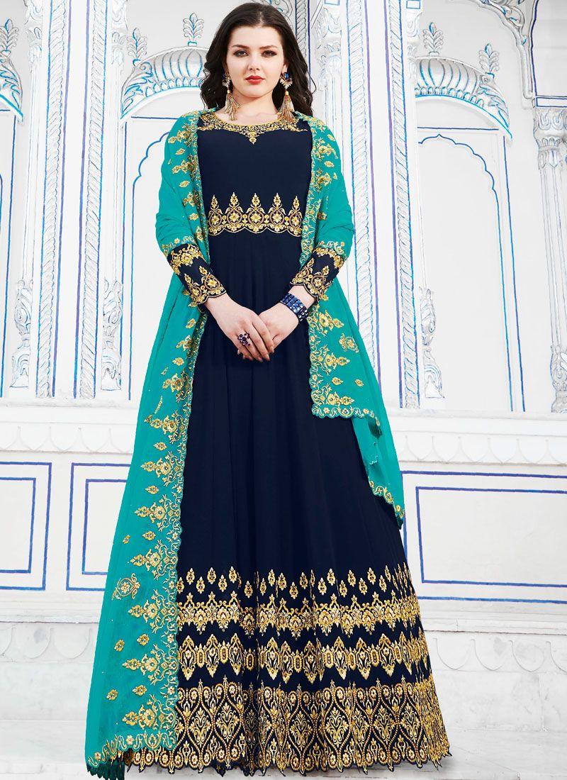 Navy Blue Embroidered Georgette Anarkali Salwar Suit
