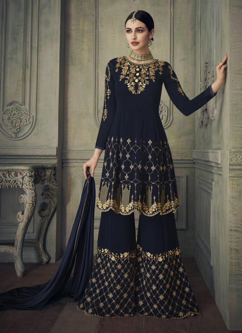 Navy Blue Embroidered Georgette Designer Palazzo Salwar Suit