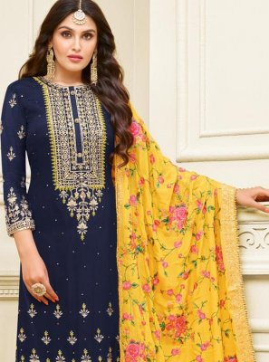 Navy Blue Embroidered Georgette Satin Churidar Designer Suit