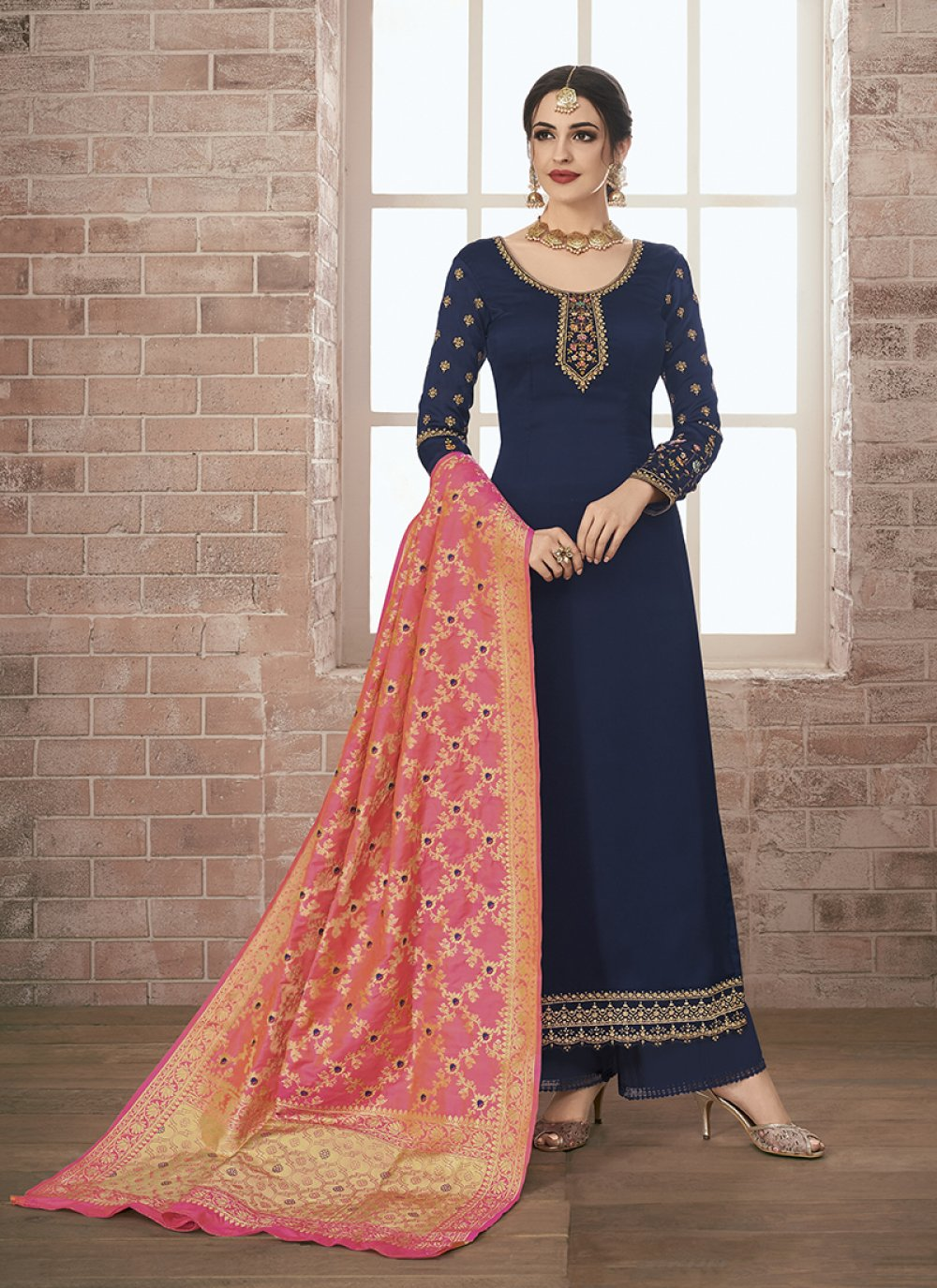 Navy Blue Embroidered Georgette Satin Designer Pakistani Suit