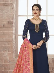 Navy Blue Embroidered Georgette Satin Designer Pakistani Suit