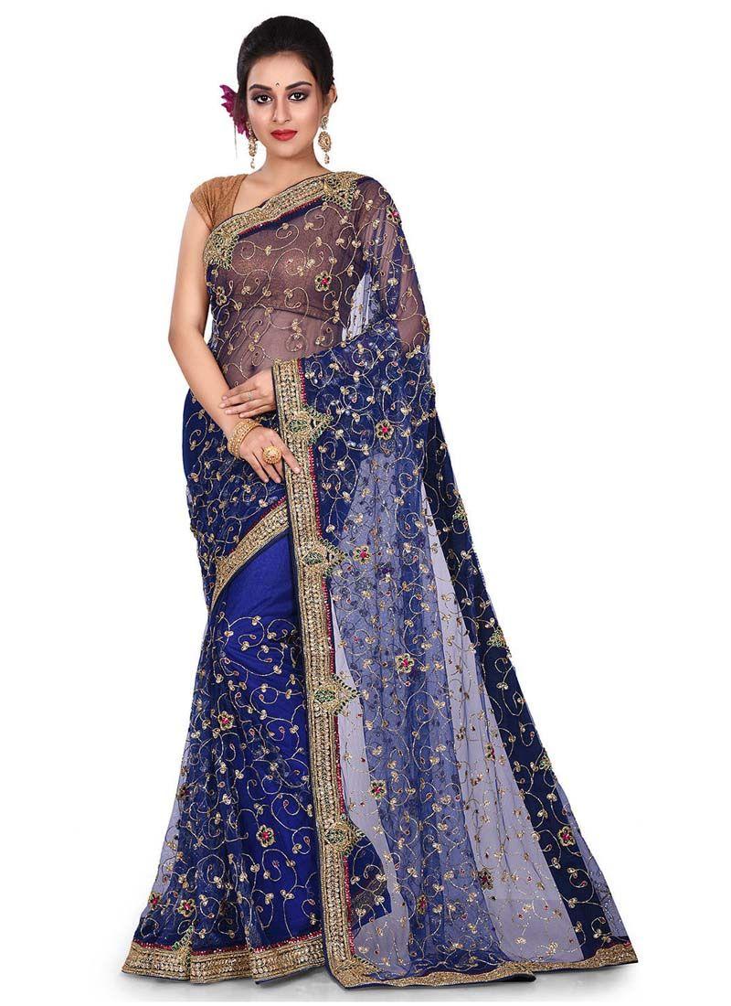 Navy Blue Embroidered Net Designer Traditional Saree