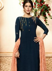 Navy Blue Embroidered Rayon Palazzo Designer Salwar Suit