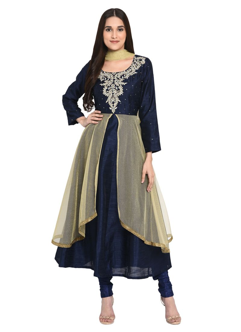 Navy Blue Embroidered Readymade Salwar Suit