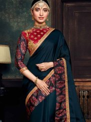 Navy Blue Embroidered Sangeet Designer Saree