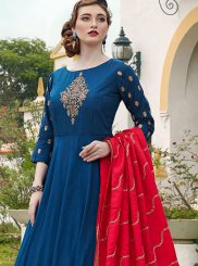Navy Blue Embroidered Silk Trendy Anarkali Salwar Suit