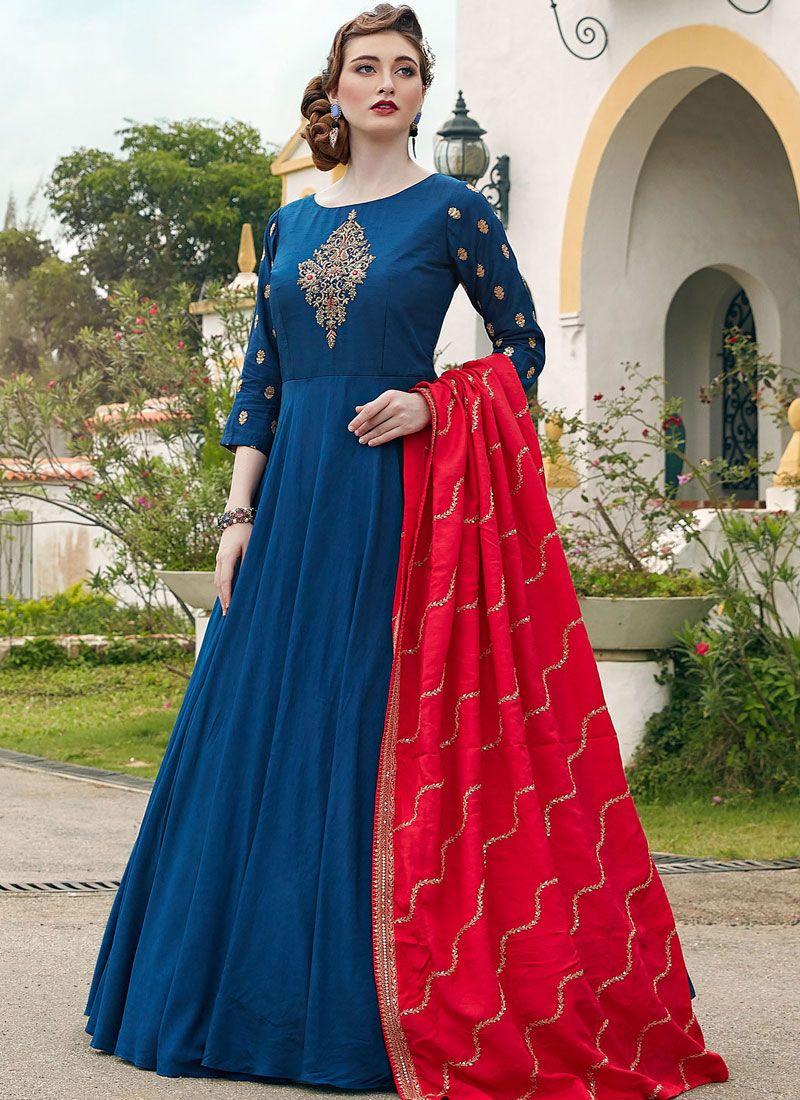 Navy Blue Embroidered Silk Trendy Anarkali Salwar Suit