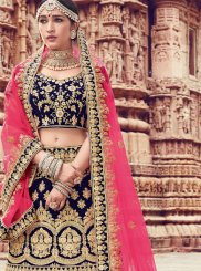 Navy Blue Embroidered Trendy Lehenga Choli