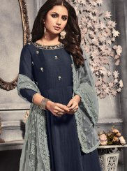 Navy Blue Embroidered Viscose Desinger Anarkali Salwar Kameez