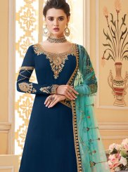 Navy Blue Embroidered Wedding Designer Palazzo Salwar Suit