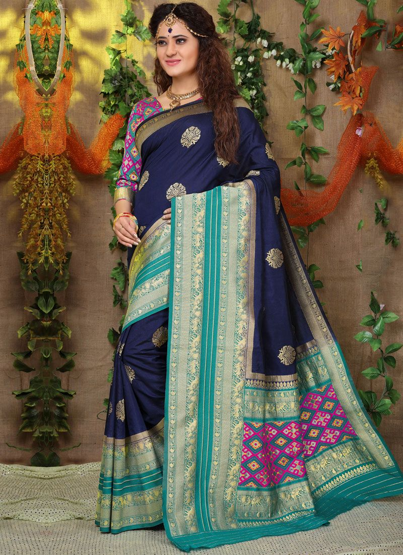 Navy Blue Fancy Fabric Traditional Saree