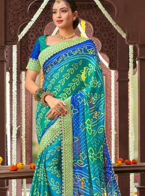 Navy Blue Faux Chiffon Traditional Saree