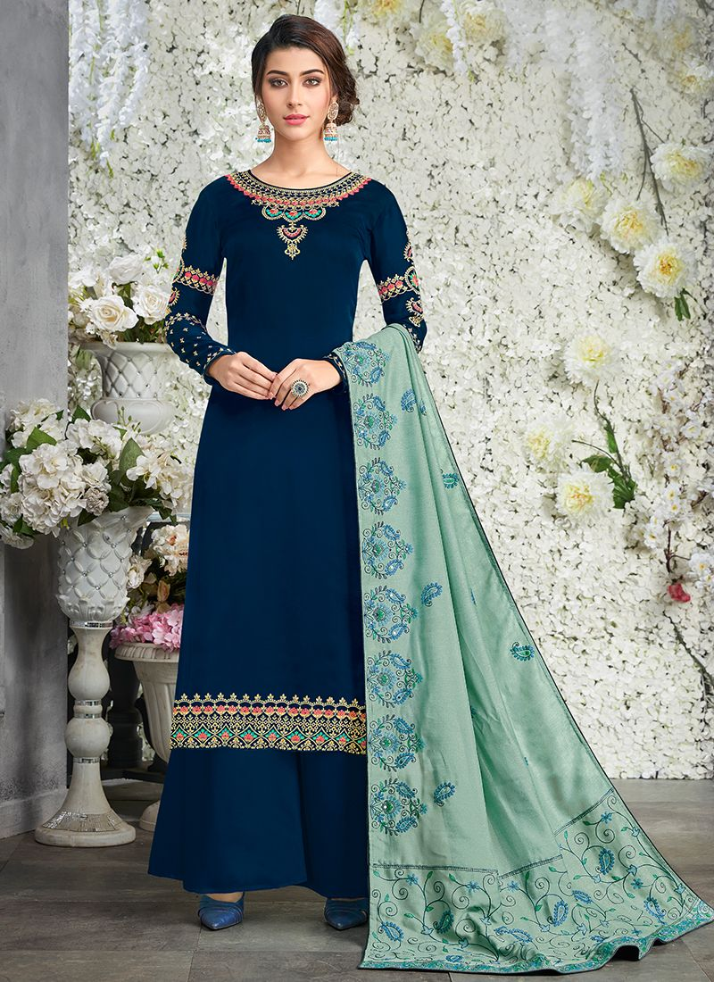 Navy Blue Faux Georgette Designer Pakistani Suit