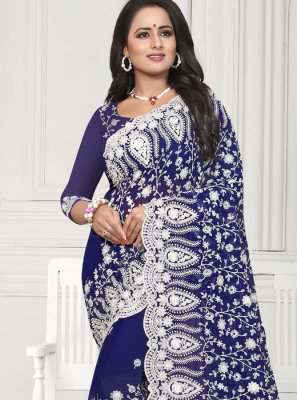 Navy Blue Faux Georgette Reception Designer Saree