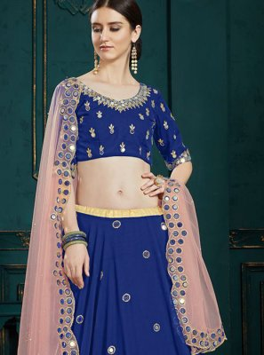 Navy Blue Faux Georgette Trendy A Line Lehenga Choli