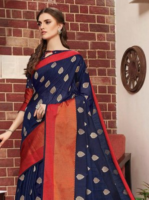 Navy Blue Festival Art Silk Traditional Designer Saree