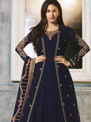 Navy Blue Festival Faux Georgette Floor Length Anarkali Suit