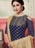 Navy Blue Festival Jacquard Silk Designer Suit