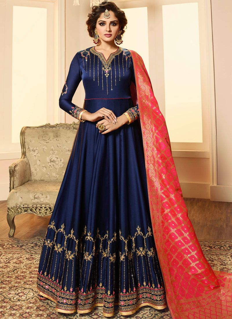 Navy Blue Georgette Satin Anarkali Salwar Kameez