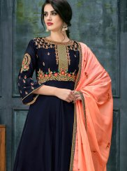 Navy Blue Georgette Satin Floor Length Anarkali Suit