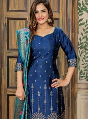Navy Blue Jacquard Embroidered Designer Pakistani Suit