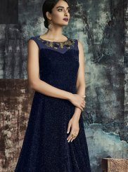 Navy Blue Jacquard Gown