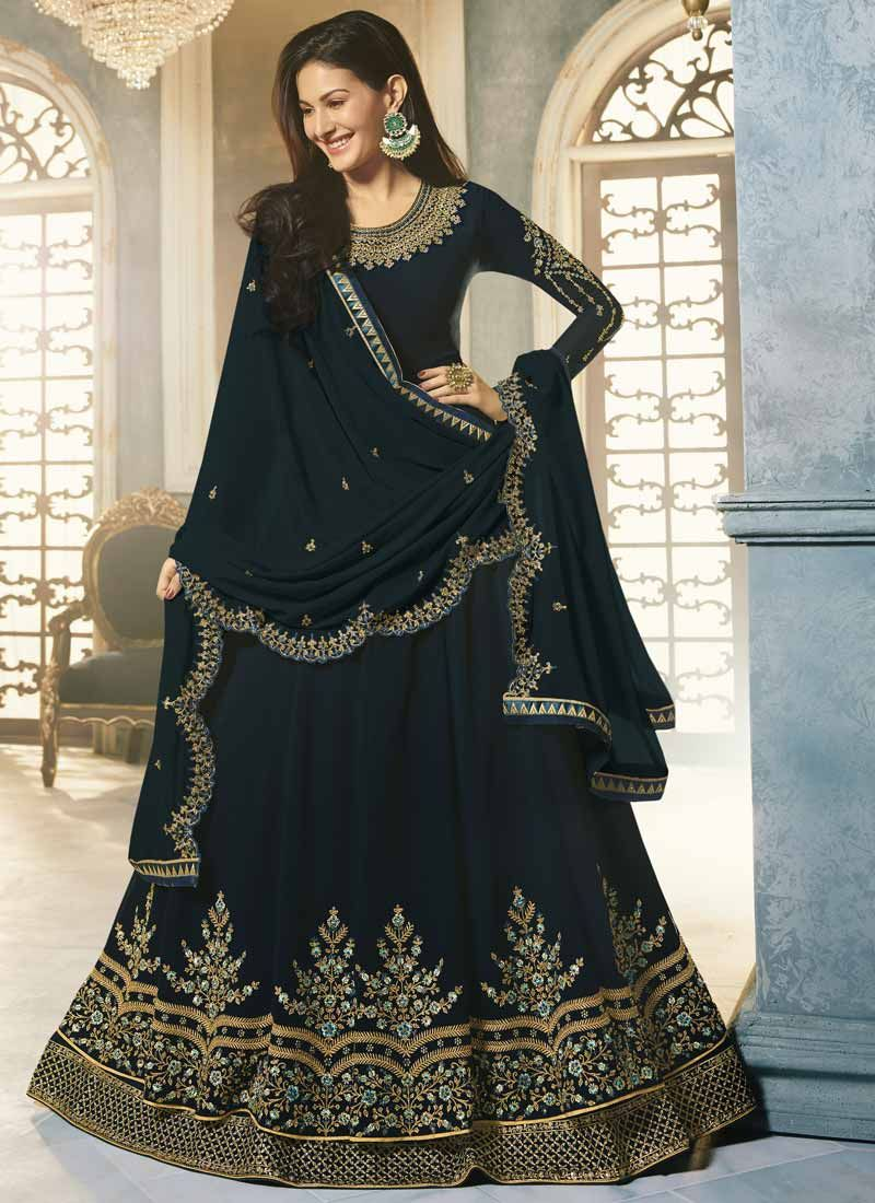 Navy Blue Lace Faux Georgette Floor Length Anarkali Suit