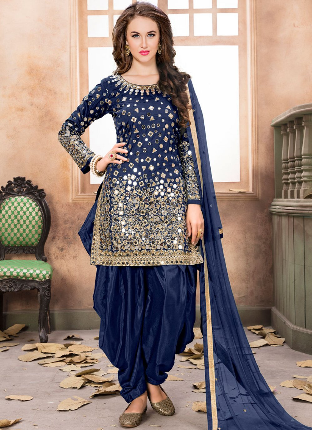Navy Blue Lace Work Tafeta silk Designer Patiala Suit