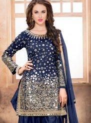 Navy Blue Lace Work Tafeta silk Designer Patiala Suit