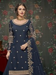 Navy Blue Long Choli Lehenga
