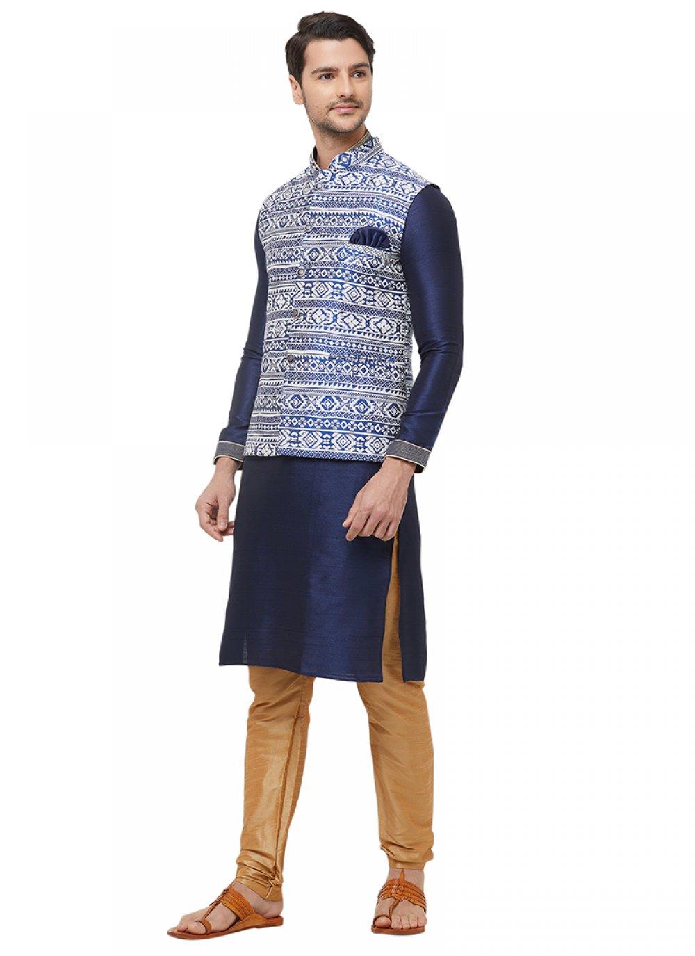 Navy Blue Machine Embroidery  Art Silk Kurta Payjama With Jacket