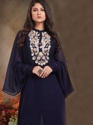 Navy Blue Mehndi Georgette Designer Palazzo Salwar Kameez