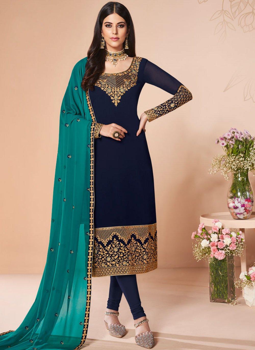 Navy Blue Mehndi Salwar Suit