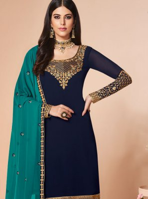 Navy Blue Mehndi Salwar Suit