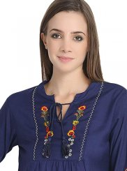 Navy Blue Party Casual Kurti