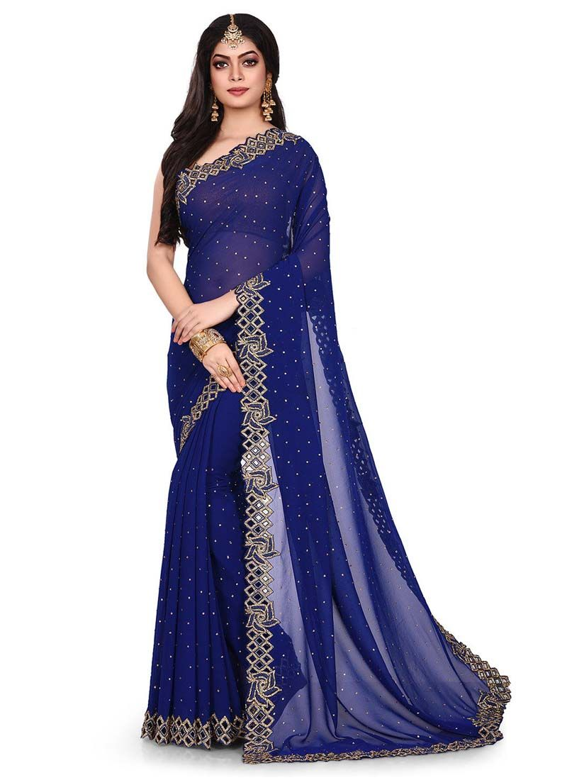 Navy Blue Party Georgette Designer Traditional Saree