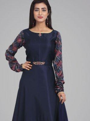 Navy Blue Party Satin Desinger Anarkali Suit