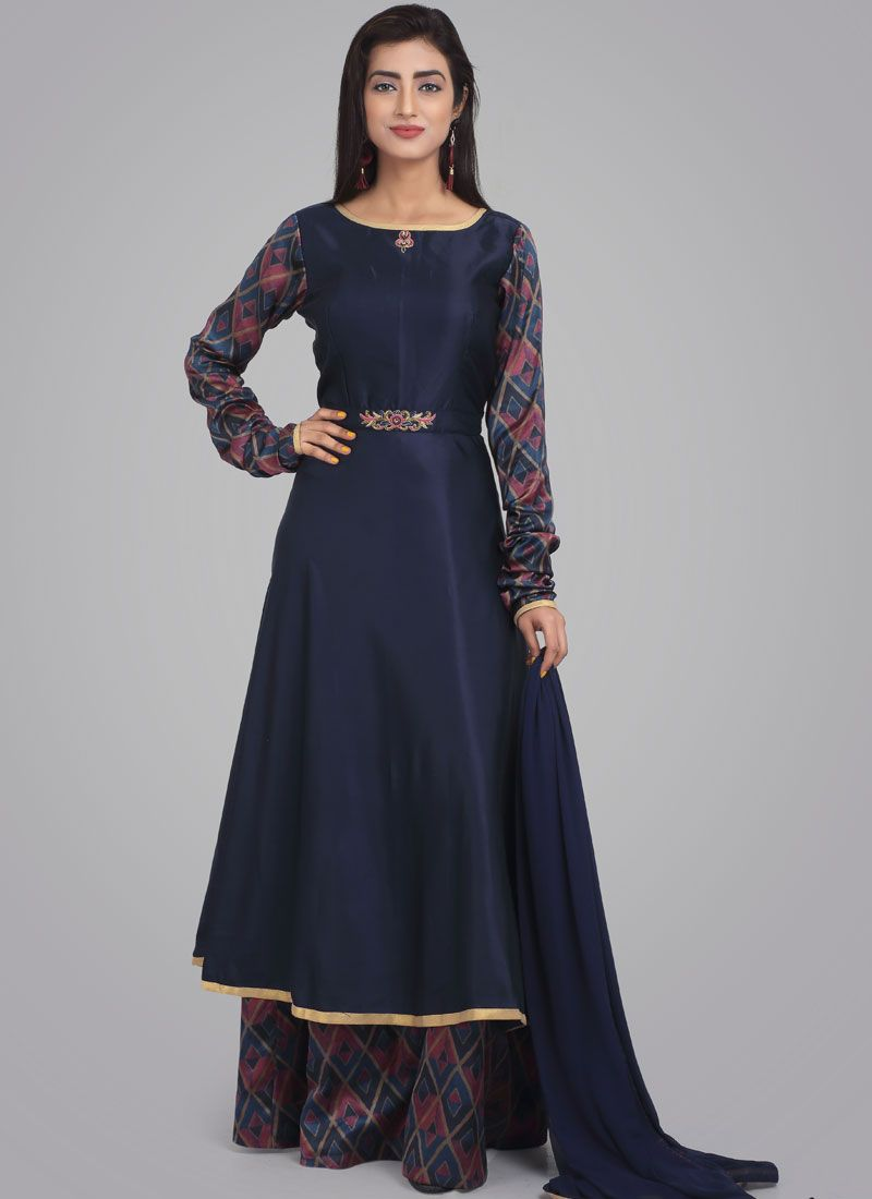 Navy Blue Party Satin Desinger Anarkali Suit