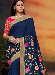 Navy Blue Patch Border Ceremonial Traditional Designer Saree