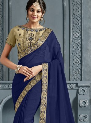 Navy Blue Patch Border Festival Trendy Saree