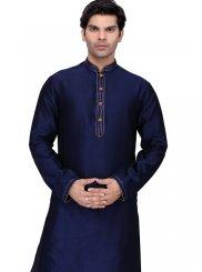 Navy Blue Plain Art Silk Kurta Pyjama