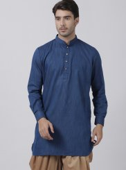 Navy Blue Plain Blended Cotton Dhoti Kurta
